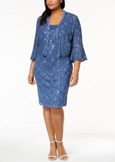 Alex Evenings Plus Size Sequined Lace Dress & Jacket