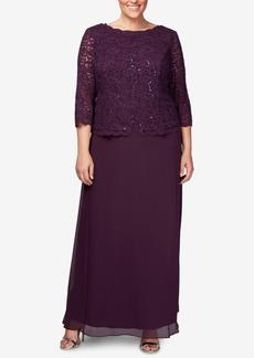 Alex Evenings Plus Size Sequined Lace Gown