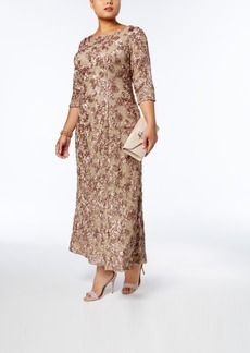 Alex Evenings Plus Size Sequined Lace Rosette Gown
