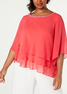 Alex Evenings Plus Size Tiered-Ruffle Blouse