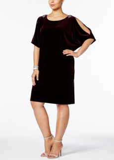 Alex Evenings Plus Size Velvet Cold-Shoulder Dress