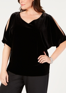 Alex Evenings Plus Size Velvet Split-Sleeve Top