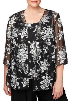 Alex Evenings Plus Two-Piece Burnout Floral Cardigan and Camisole