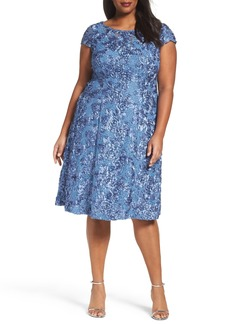 Alex Evenings Rosette Fit & Flare Dress (Plus Size)
