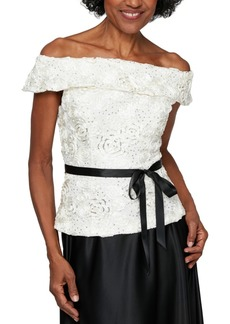 Alex Evenings Petite Off-The-Shoulder Lace Top