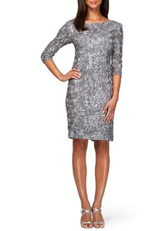 Alex Evenings Rosette Lace Sheath Dress