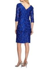 Alex Evenings Rosette Lace Sheath Dress