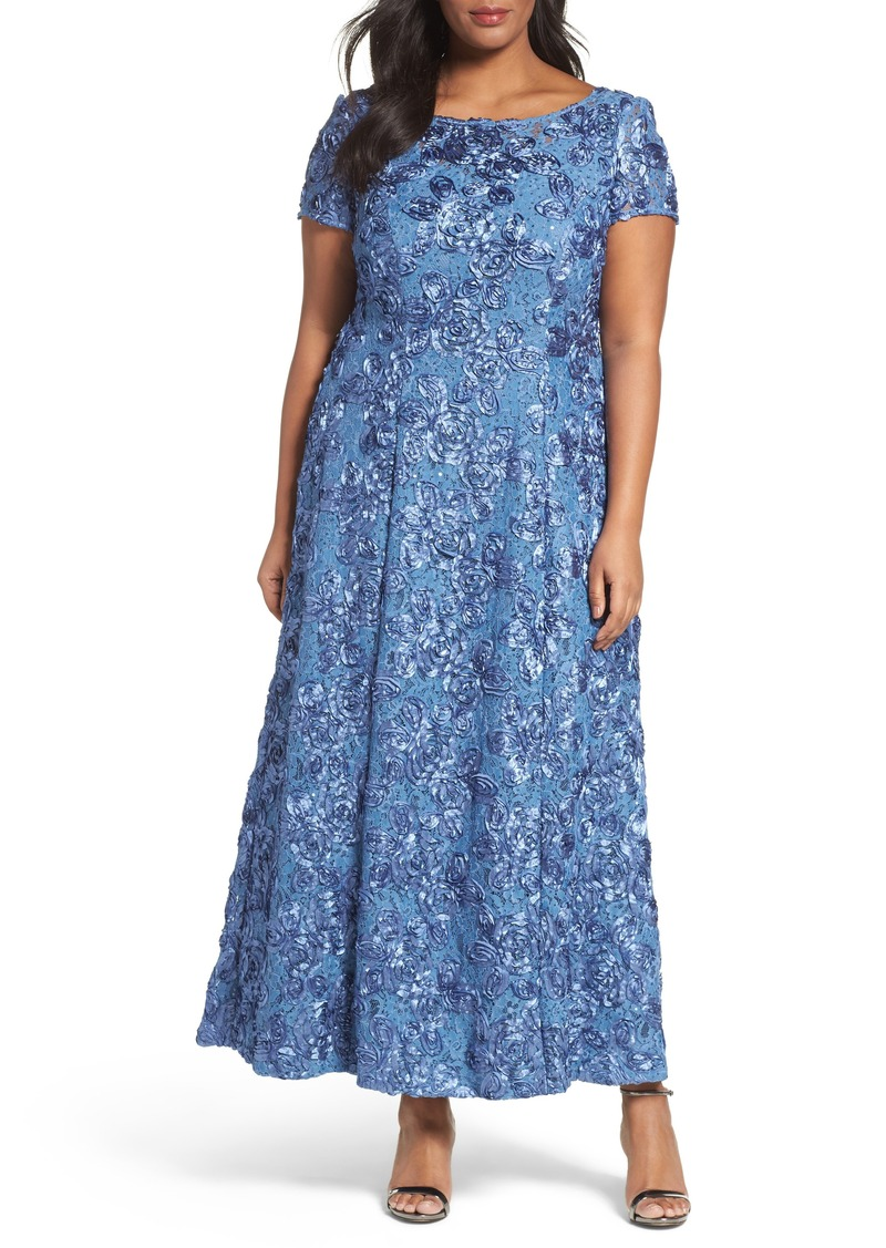 Alex Evenings Rosette Lace Short Sleeve A-Line Gown (Plus Size)