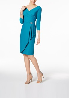 Alex Evenings Ruched Faux-Wrap Dress