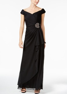 Alex Evenings Ruched Off-The-Shoulder Gown