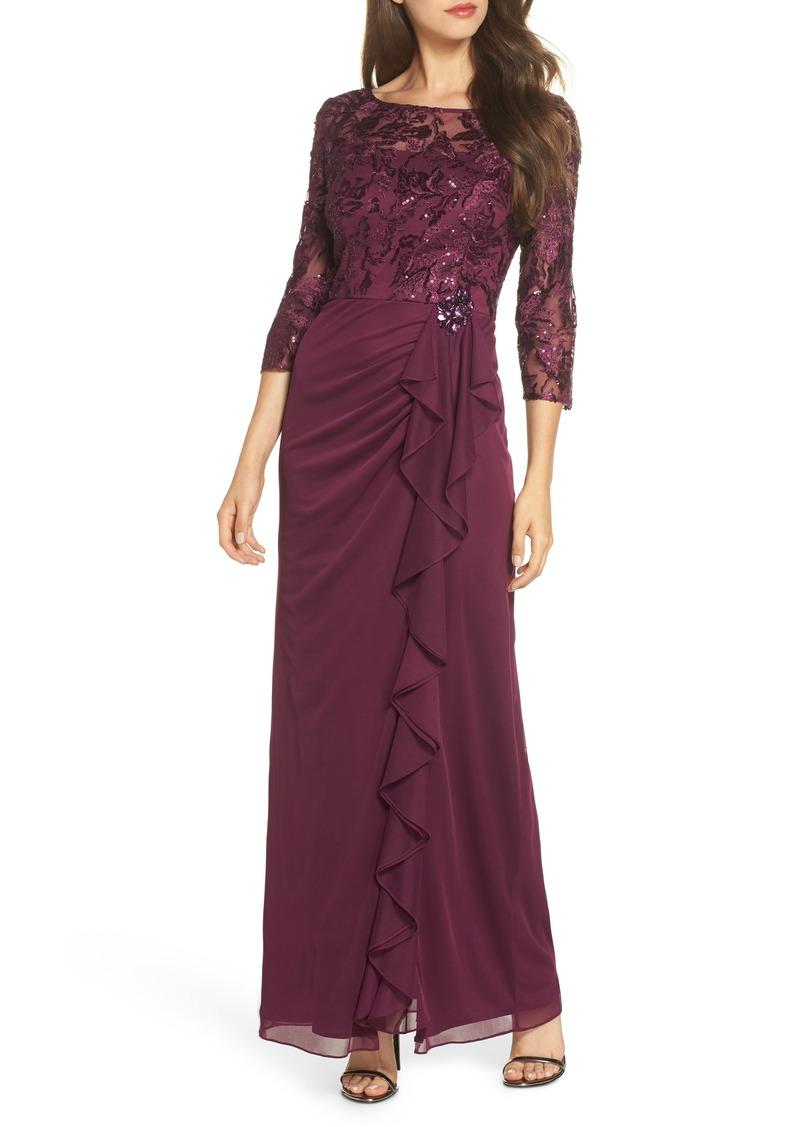 Alex Evenings Ruffle Detail Column Gown (Regular & Petite)