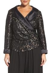 Alex Evenings Satin Collar Sequin Lace Blouse (Plus Size)