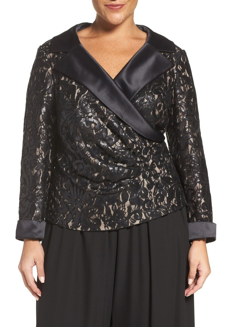Alex Evenings Satin Collar Sequin Lace Blouse (Plus Size)