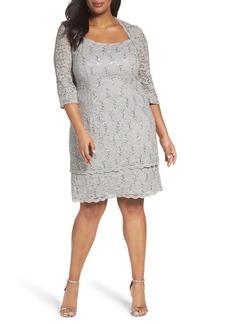 Alex Evenings Scallop Edge Sequin Lace Shift Dress (Plus Size)