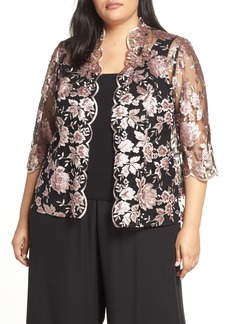 Alex Evenings Scallop Embroidered Twinset (Plus Size)