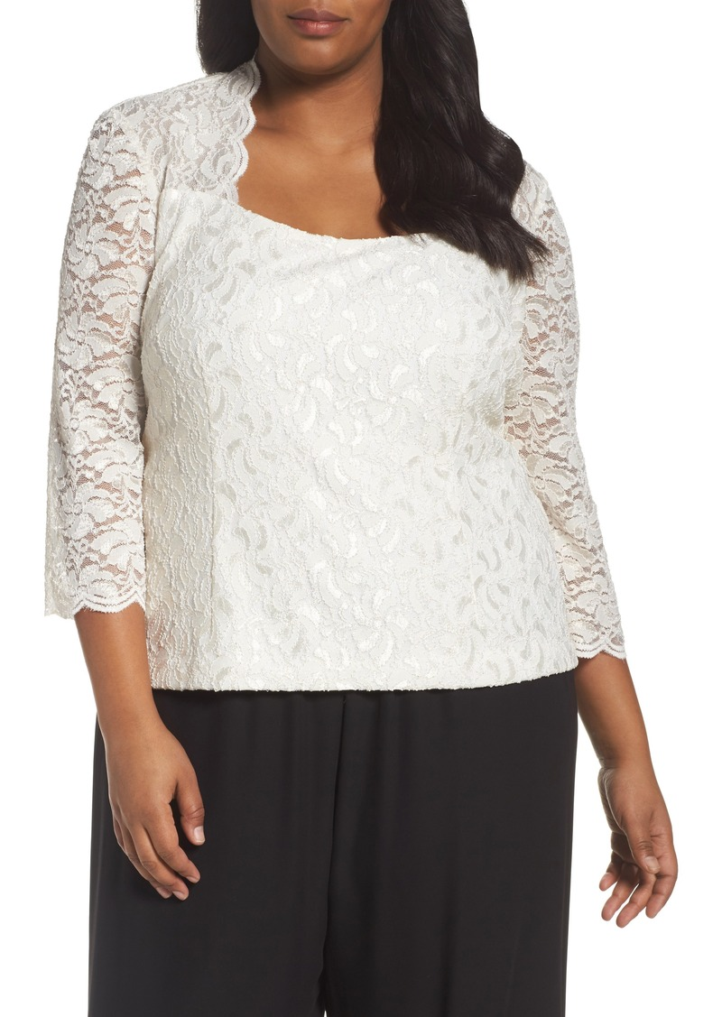c5eaf55fbbe Alex Evenings Plus Size Sheer Embroidered Blouse