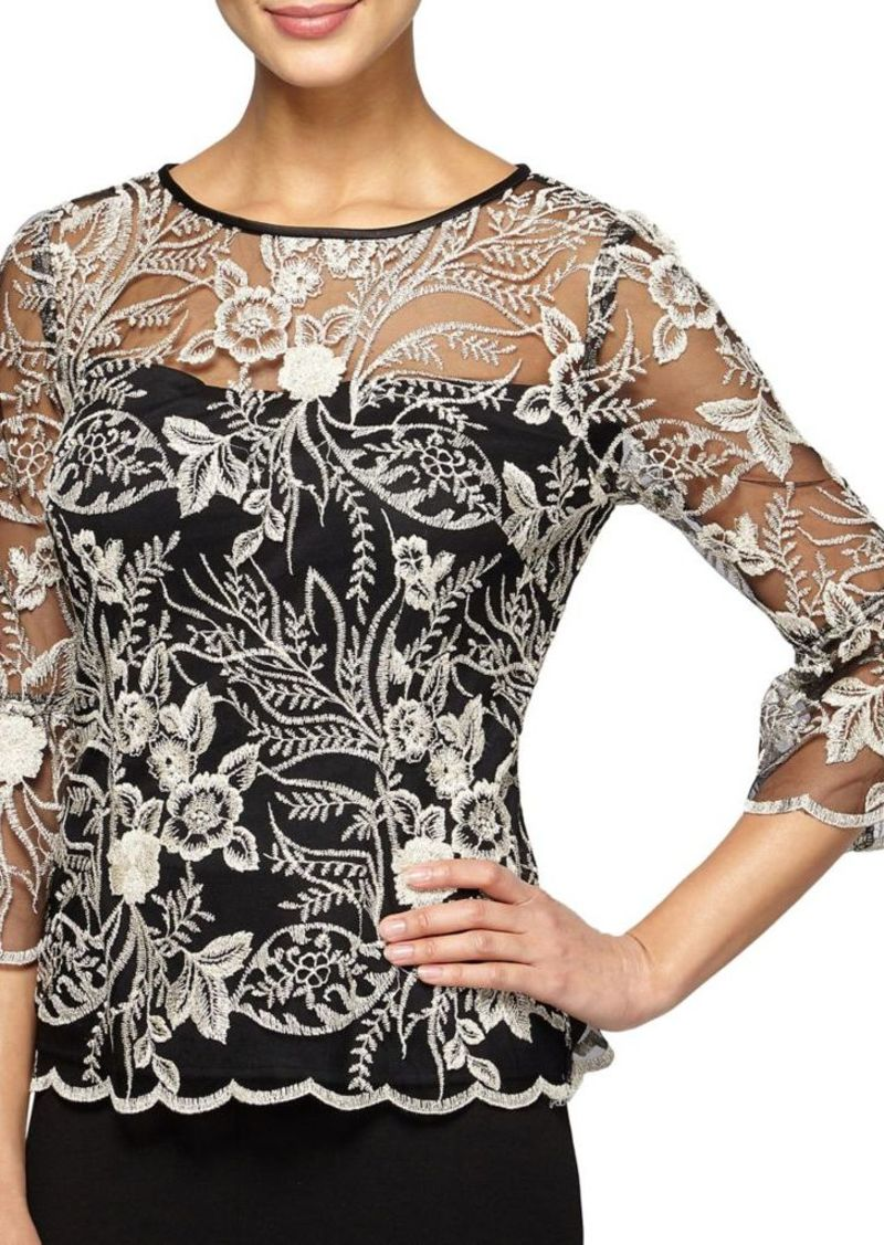6bc8480f363 Alex Evenings Plus Size Sheer Embroidered Blouse