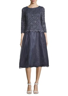 Alex Evenings Scalloped Floral-Lace Dress