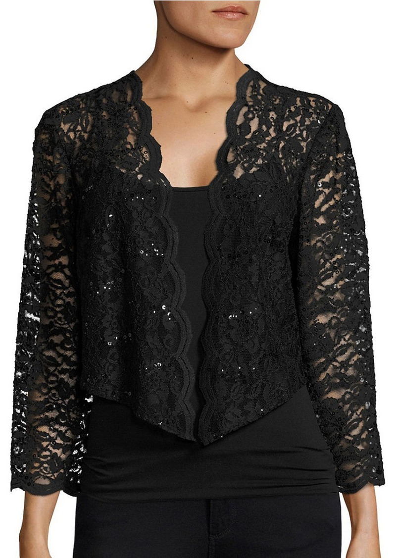ALEX EVENINGS Scalloped Lace Balero