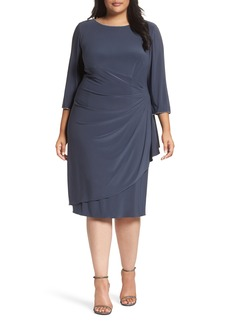 Alex Evenings Scoop Back Ruched Matte Jersey Dress (Plus Size)