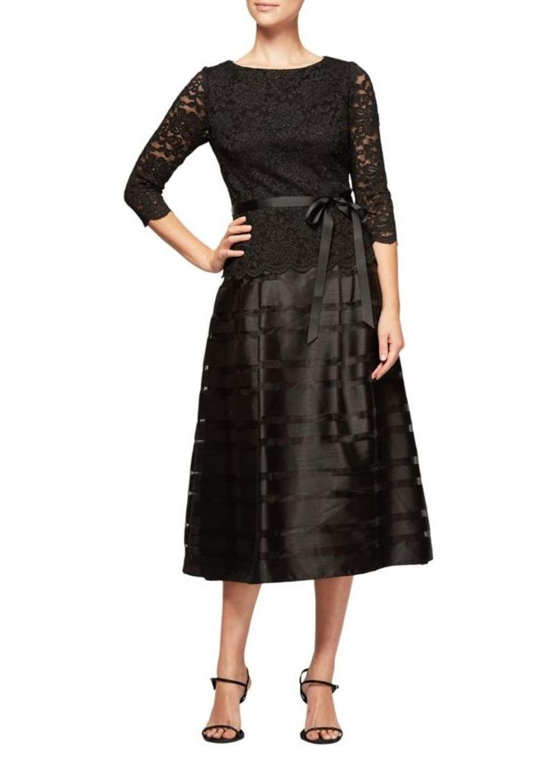 Alex Evenings Semi-Sheer A-Line Dress
