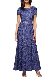 Alex Evenings Sequin & Soutache Lace Gown (Regular & Petite)