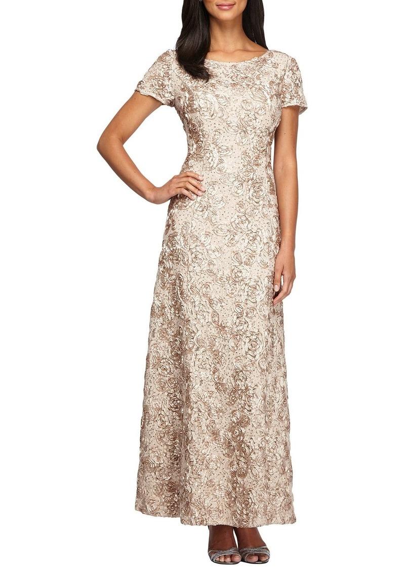 Alex Evenings Sequin & Soutache Lace Gown (Regular & Petite)