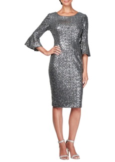 Alex Evenings Sequin Bell Cuff Cocktail Sheath Dress (Regular & Petite)