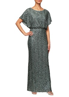 Alex Evenings Sequin Blouson Evening Dress