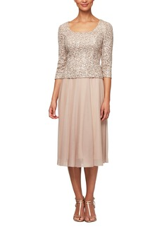 Alex Evenings Sequin Bodice Tea Length Dress (Regular & Petite)