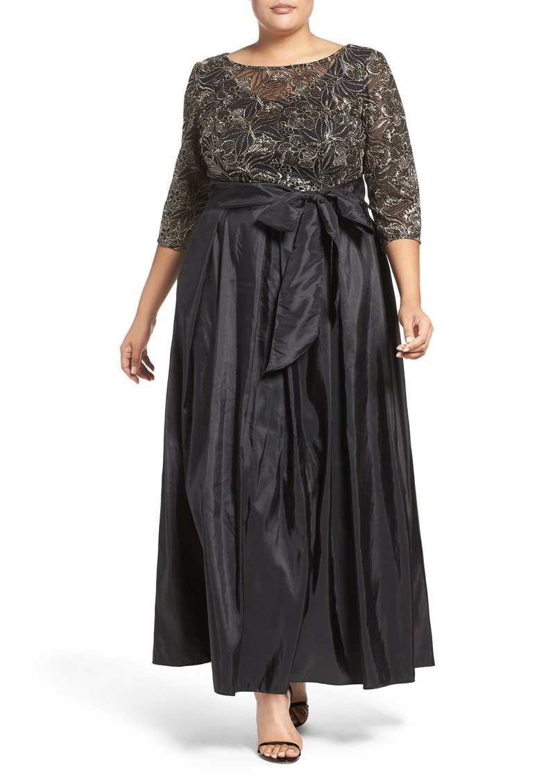 Alex Evenings Alex Evenings Sequin Embroidered Gown (Plus Size ...