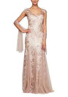 Alex Evenings Sequin Embroidered Trumpet Gown (Regular & Petite)