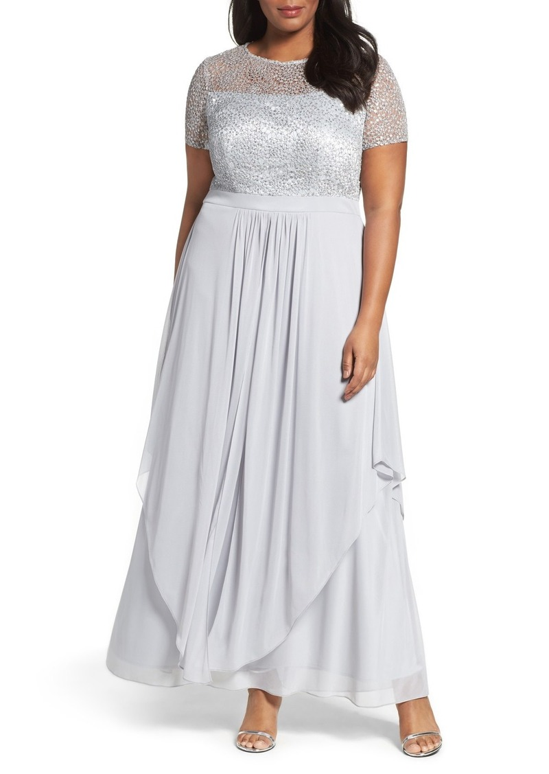Alex Evenings Sequin Empire Waist Gown (Plus Size)