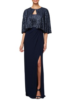 Alex Evenings Sequin Gown & Capelet