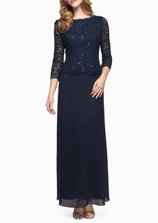 Alex Evenings Sequin Lace & Chiffon Gown