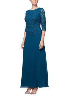 Alex Evenings Sequin Lace & Chiffon Gown (Regular & Petite)