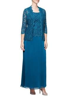 Alex Evenings Sequin Lace & Chiffon Gown with Jacket (Regular and Petite)