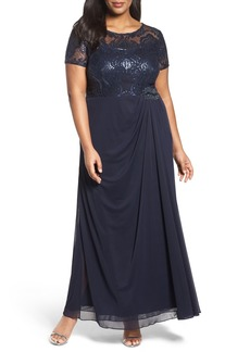 Alex Evenings Sequin Lace & Chiffon Ruched Long Dress (Plus Size)