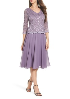 Alex Evenings Sequin Lace & Georgette Midi Dress