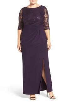 Alex Evenings Sequin Lace & Jersey Column Gown (Plus Size)
