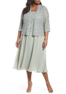 Alex Evenings Sequin Lace & Satin Dress with Jacket (Plus Size)