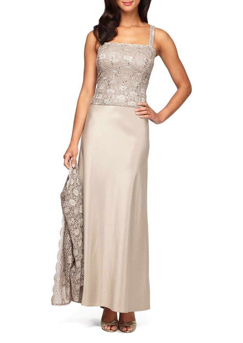 Alex Evenings Sequin Lace & Satin Gown with Jacket