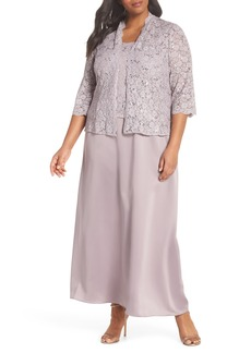 Alex Evenings Sequin Lace & Satin Gown with Jacket (Plus Size)