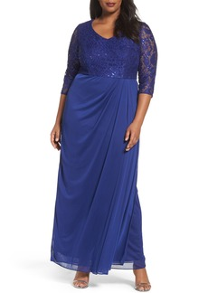 Alex Evenings Sequin Lace Bodice Gown (Plus Size)