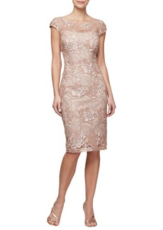 Alex Evenings Sequin Lace Cocktail Dress (Regular & Petite)