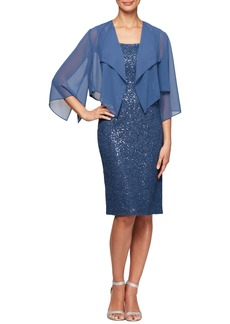 Alex Evenings Sequin Lace Cocktail Dress with Capelet Overlay (Regular & Petite)