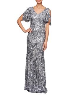 Alex Evenings Sequin Lace Cold Shoulder Trumpet Gown