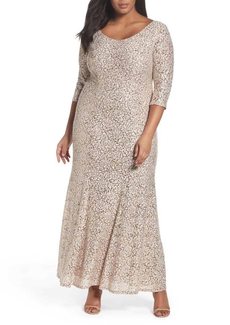 Alex Evenings Sequin Lace Fit & Flare Long Dress (Plus Size)