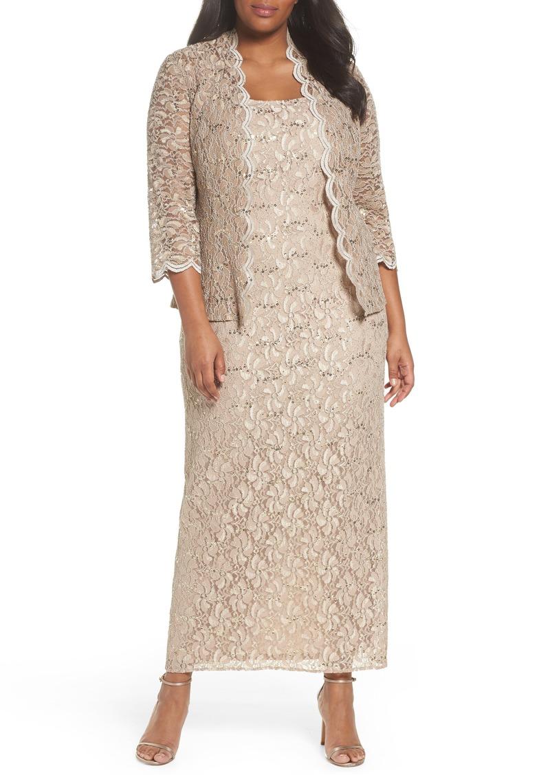 Alex Evenings Alex Evenings Sequin Lace Gown & Jacket (Plus Size ...