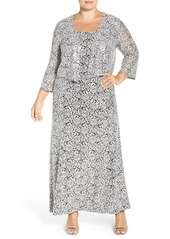 Alex Evenings Sequin Lace Gown & Jacket (Plus Size)
